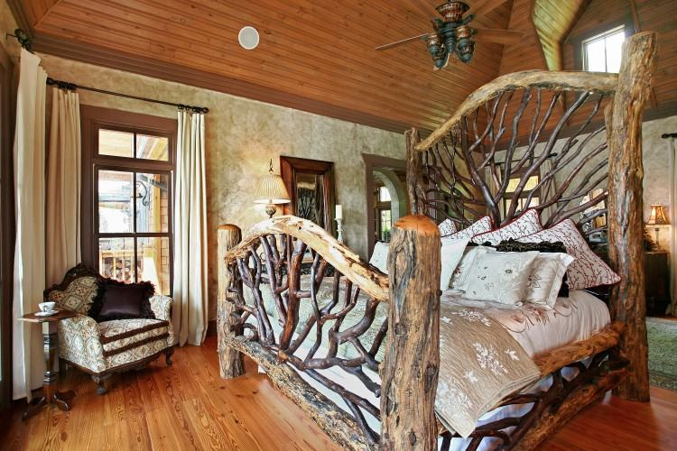 Brave Log Cabin Master Bedroom Design With Stacked Stone Fireplace Also  Single Rustic
