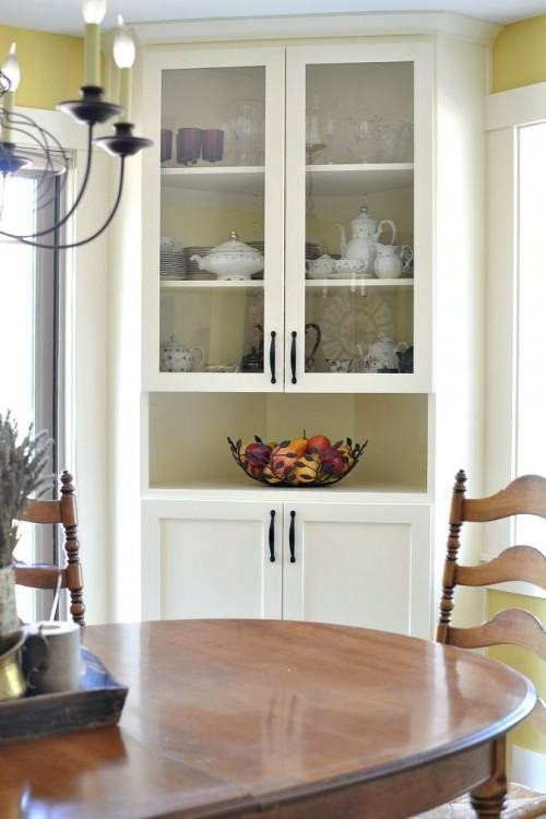 built in corner hutch dining room