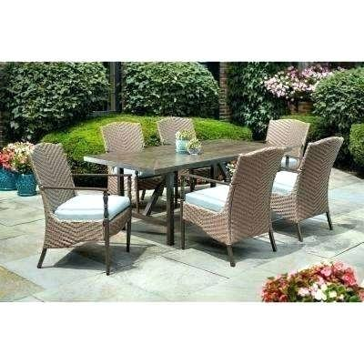 Hampton 7 Piece Outdoor Wicker Patio Furniture Set 07a 7 Piece Outdoor  Patio Set 7 Piece Wicker Outdoor Patio Dining Set With Spectrum Mist  Cushions
