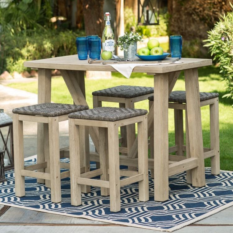 Counter Height Patio Furniture With Blue Paito Chairs And Blue Small Patio  Table: Full