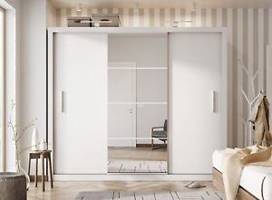 Bedroom : Luxury Frosted Glass Sliding Door Wardrobe Design Bedroom With  White Tiles Floor Combine White Fluffy Rug Also Rectangle Dark Brown Wood  Door