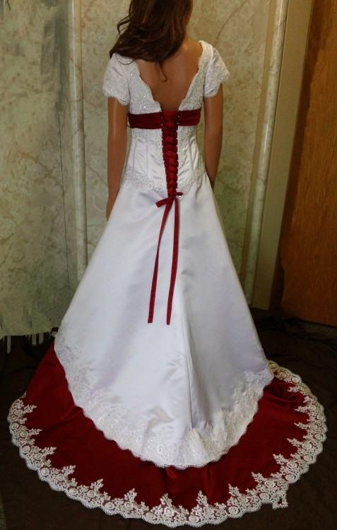 Pleasing Wedding Dress Ornaments In Wedding Dress With Red Trim